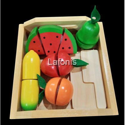 Wooden Cutting Fruits with Wooden Tray (18.2*17.5*6cm)