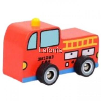 Wooden Mini Toys Transport Fire Engine Truck(9*4.5*5.5 cm)